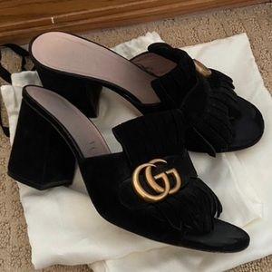 Gucci GG Marmont Suede Sandal Heels